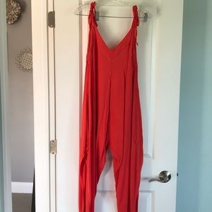Bold orange Free People romper